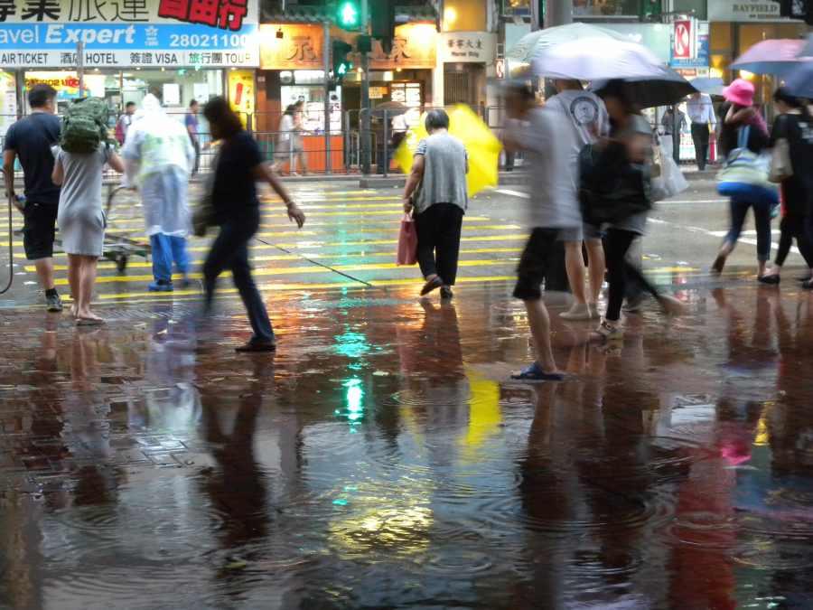 rain in Wanchai