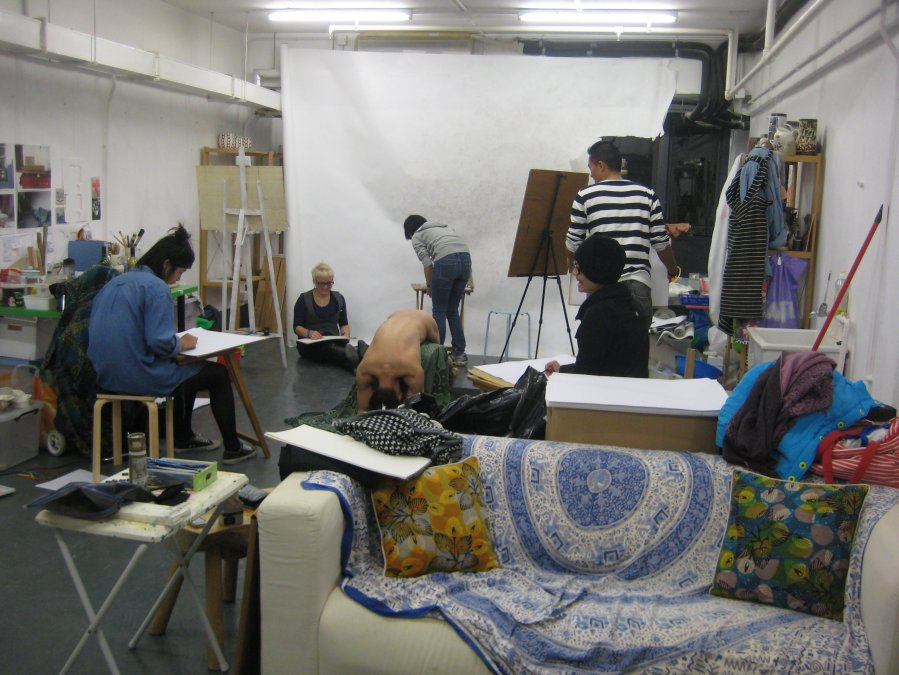 life drawing session in the studio, a difficult pose for William but he did choose it