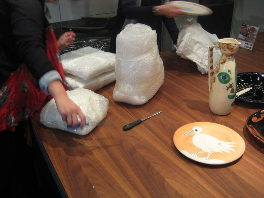 unwrapping Picasso ceramics ready to exhibit