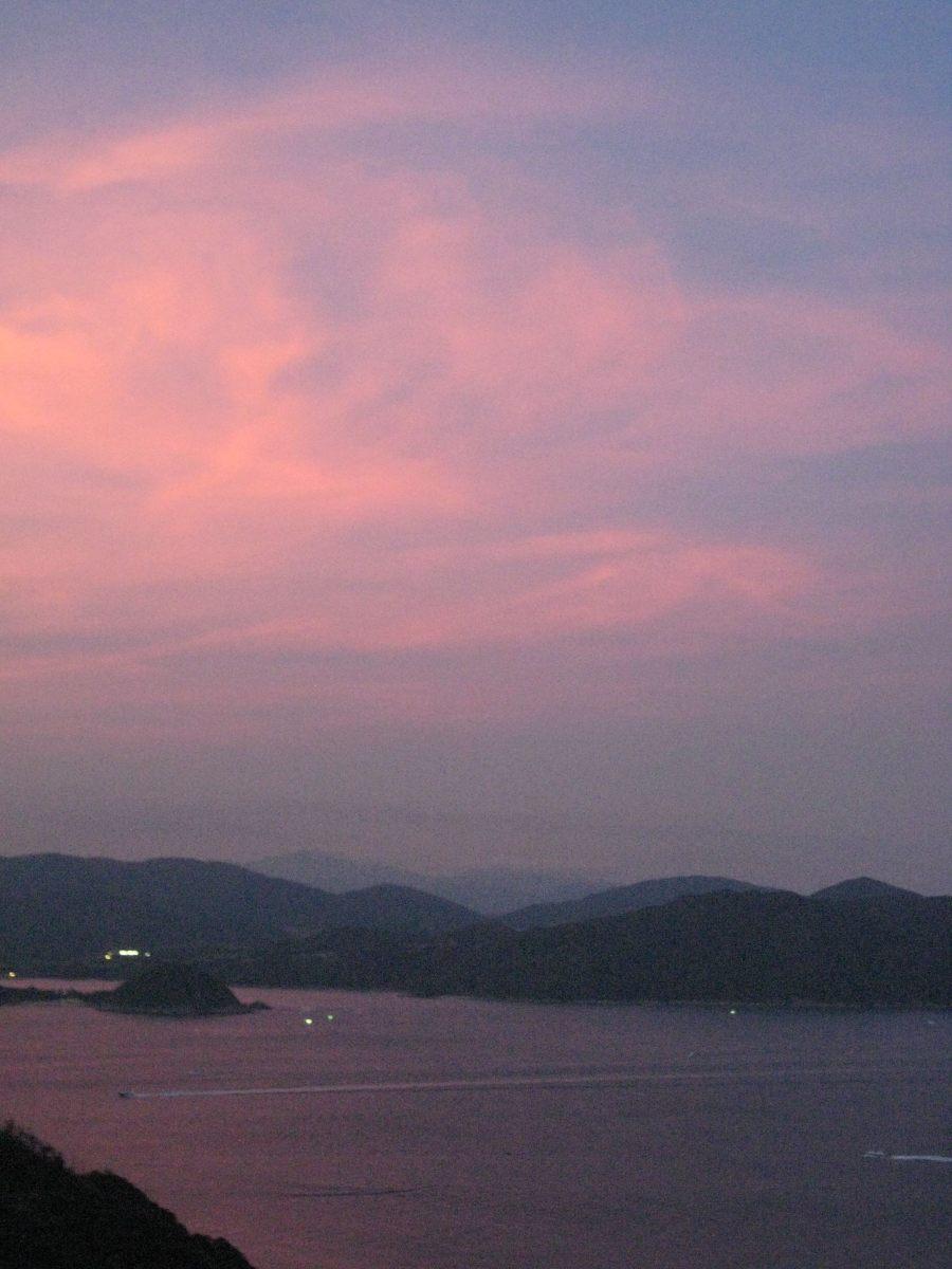 pink sky over Sai Kung