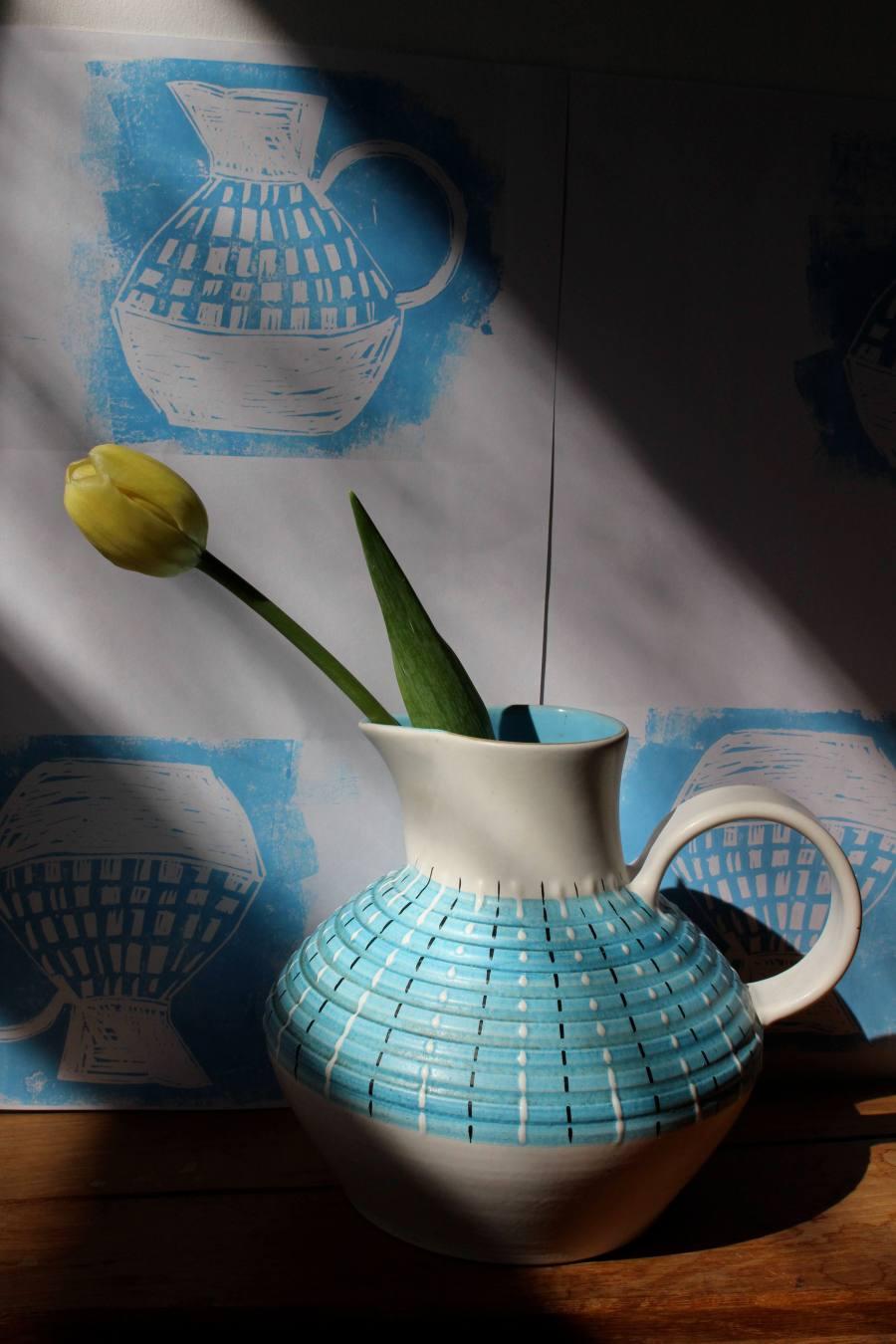 Denby jug and linocuts
