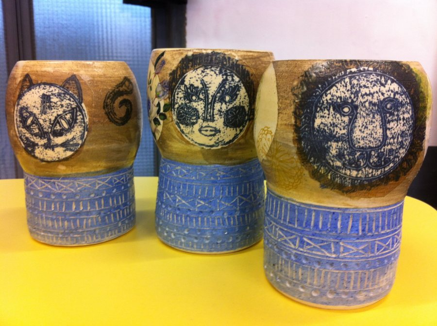 mono-print plant pots