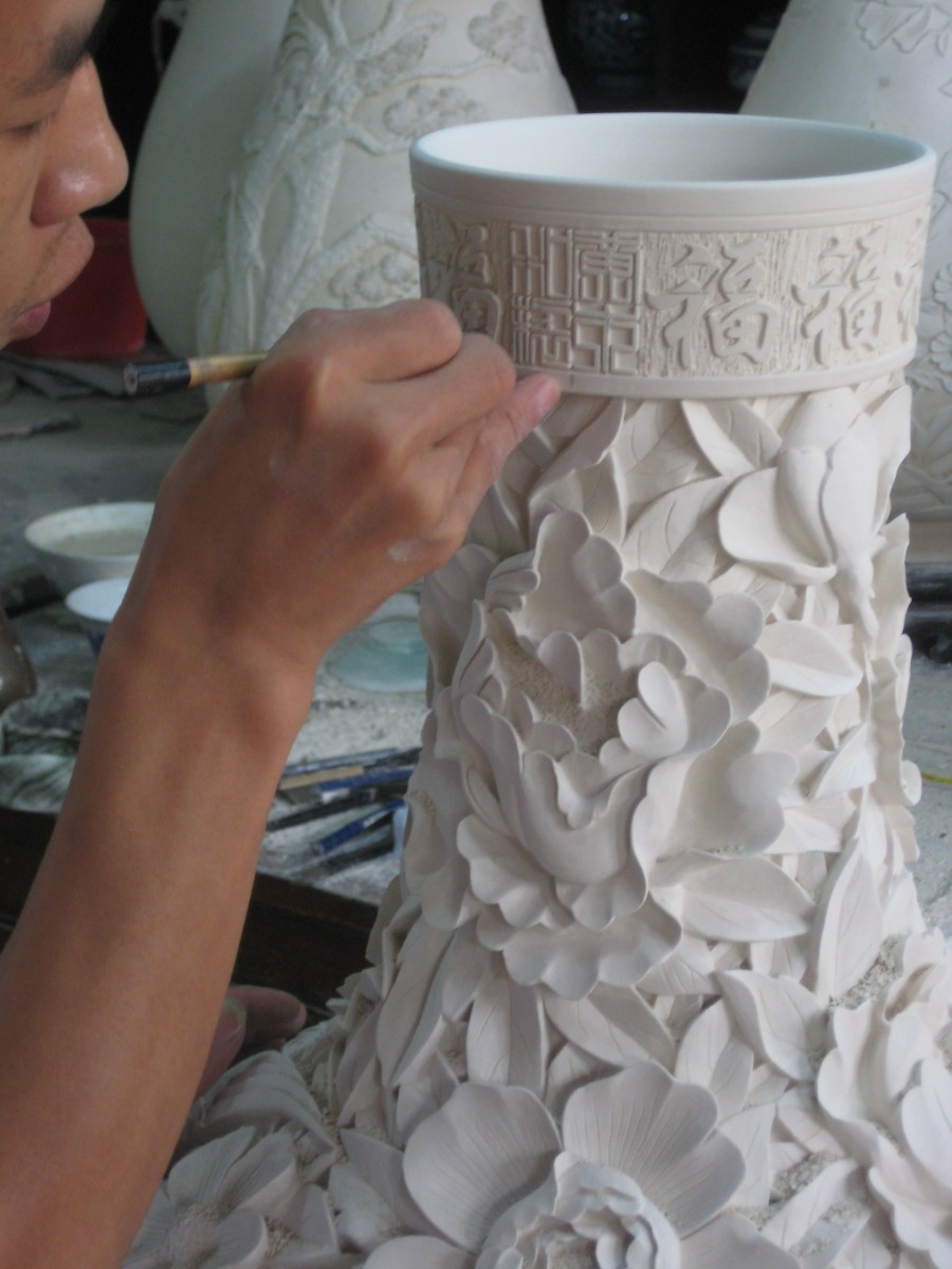 more intricate carving on a dry infired clay body, this can take months so not making  amistake is quite important