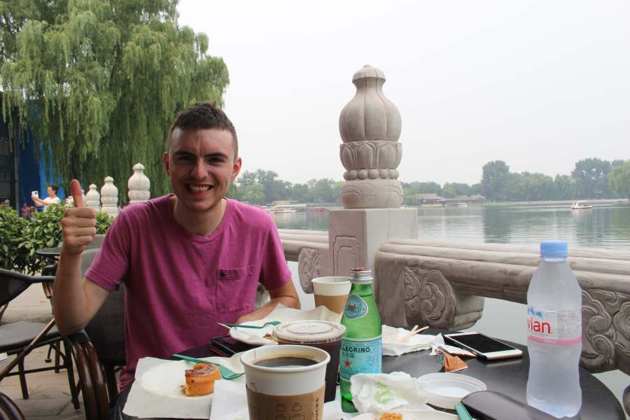 Joe at Houhai lake - unfortunately the least inspiring coffee shop but hey nice view