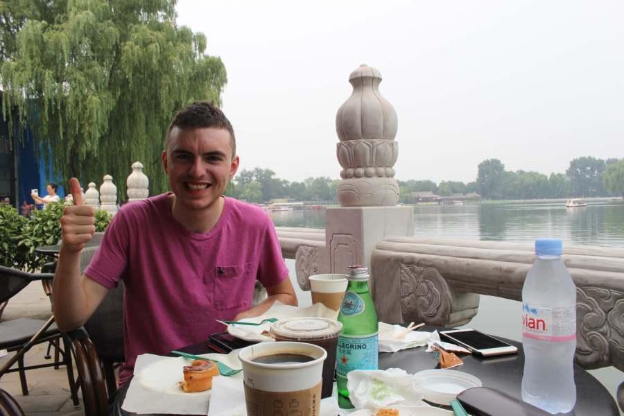 Joe at Houhai lake - unfortunately the least inspiring coffee shop but hey nice view